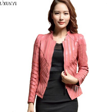 Spring Women New Color Women Short Leather Jackets and Coat Fashion Coat Big size Mandarin Collar Water washes Leather Jacket(China (Mainland))