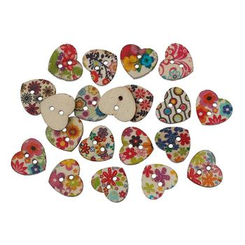 "Wood Sewing Button Scrapbooking Heart Mixed 2 Holes Flower Pattern 15.0mm( 5/8"")x 13.0mm( 4/8""),10 PCs 2015 new"