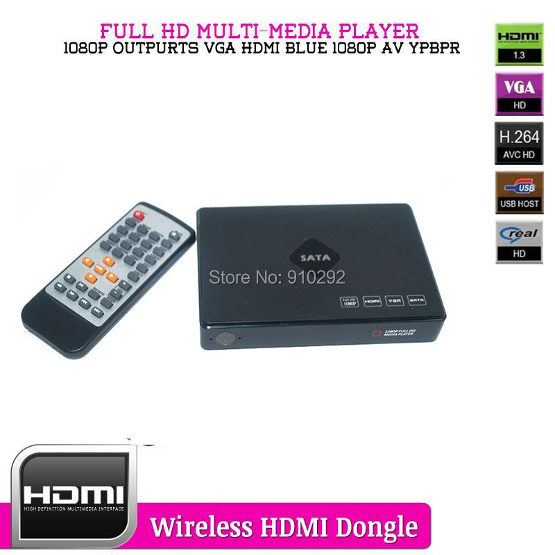 USB External Multi-Media Player With HDMI VGA AV YPBPR Output Support SD/SDHC/MM MKV H.264 Full HD Media Player(China (Mainland))