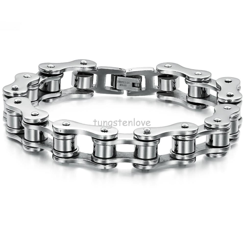 Punk 316L Stainless Steel Bracelet Silver Tone Biker Bicycle Motorcycle Chain For Mens Bracelets & Bangles(China (Mainland))