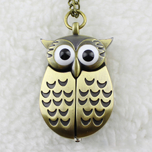 Fashion Retro Unisex Vintage Bronze Slide Smart Owl Pendant Antique Necklace Pocket Watch Gift High Quality