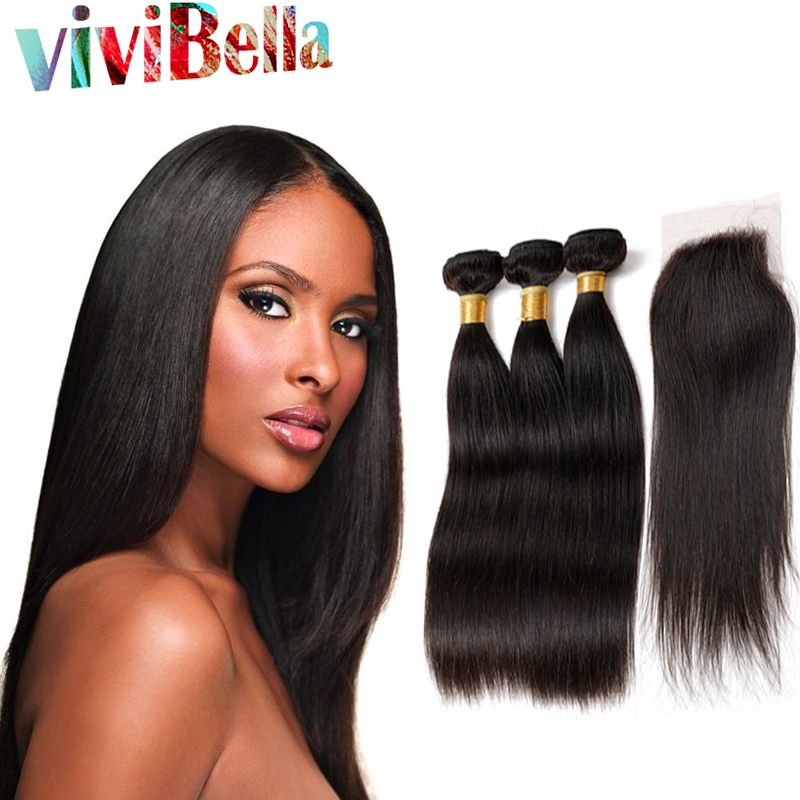 6A Peruvian Virgin Hair Straight with Closure Peruvian Virgin Hair with Closure 3 Bundles with Closure Human Hair with Closure