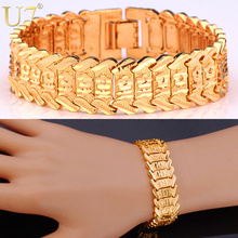 U7 Flower Bracelet Pattern New Trendy Yellow Gold Plated Unisex Jewelry 20CM 10 MM Wide Chain Bracelet Gift H494(China (Mainland))