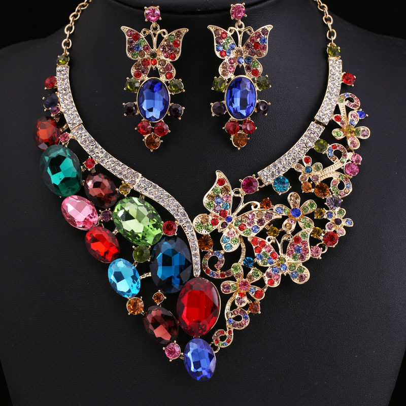 fashion brand Party Multi Crystal Jewelry Bridal Jewellery Wedding Sets Accessories Necklace earrings Set woman - Yashow Co.,Ltd( Yuki Store store)