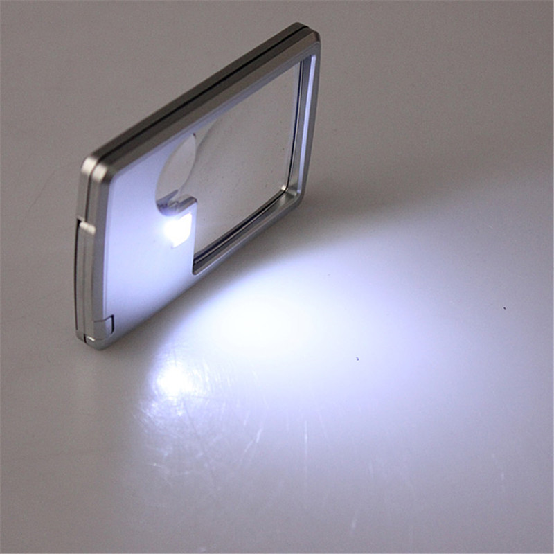 Best Promotion !!New 3X 6X Magnifier LED Light Credit Card Magnifying Glass Jewelry Loupe Reading Aid Best Promotion(China (Mainland))