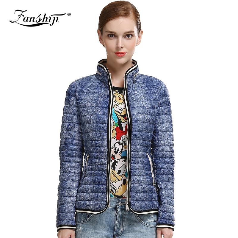 FAN SHI JIFree Shipping 2016 New Spring Jackets Women Long Sleeve Classic Down Cotton Coats Plus Size Women Winter Coats