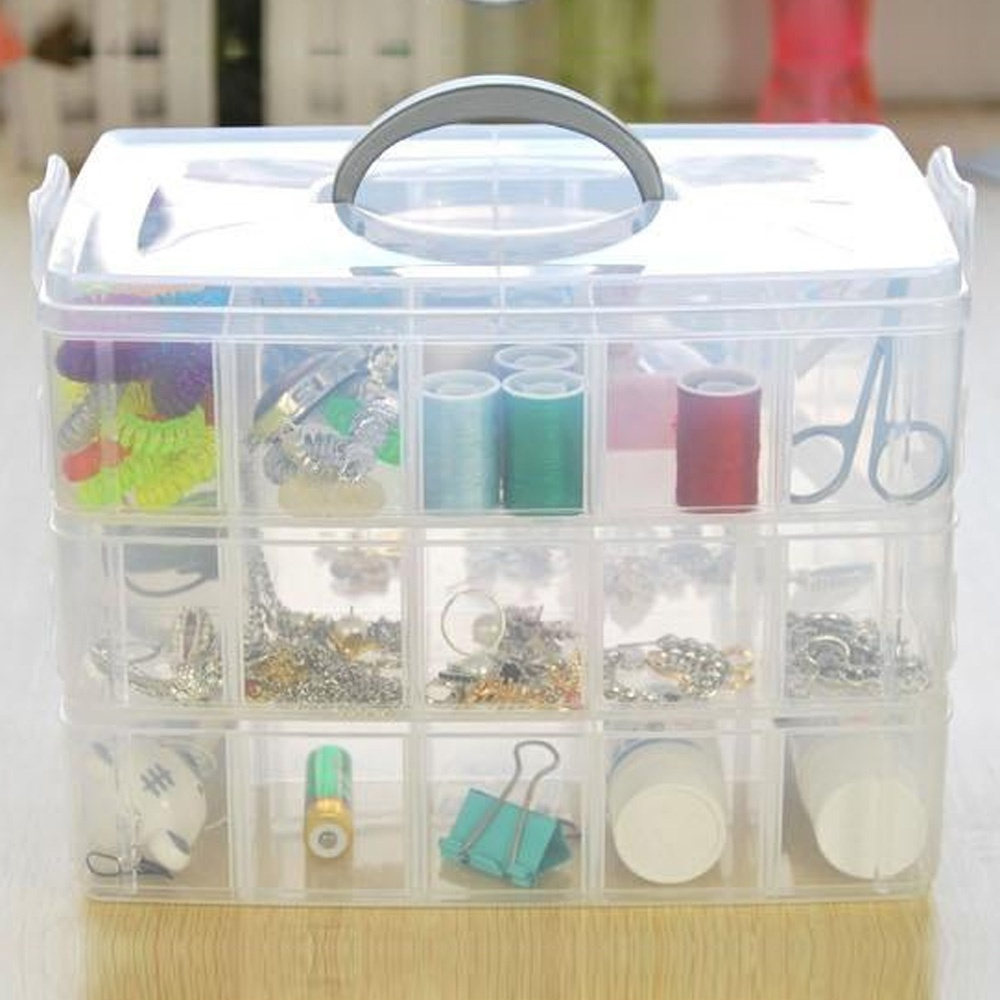 2015 Plastic Acrylic Makeup Organizer Storage Box 3 Layer Jewelry Makeup Home Organizer Boxes Travel Cosmetic Storage Cases(China (Mainland))
