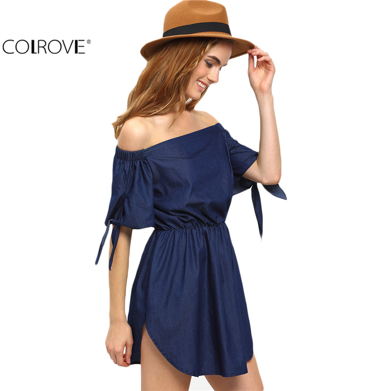 COLROVE Off The Shoulder Navy Tie Cuff Women Dresses Summer Style Sexy Casual 2016 New Cute Short Sleeve Tunic Dress(China (Mainland))