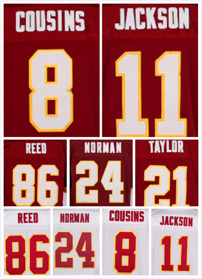 Stitched 8 Kirk Cousins 11 DeSean Jackson Jersey 86 Jordan Reed 24 Josh Norman 21 Sean Taylor Elite Jerseys(China (Mainland))
