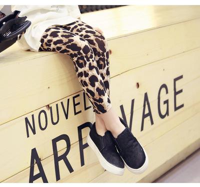 2016 весной и осенью девочка все-матч моды леопардовым принтом персонализированные кофе леггинсы брюки