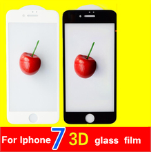 protective glass film on for iphone 7 7 plus 3D curved full tempered glass film black and white screen protector for iphone 7