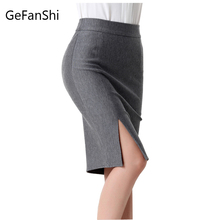 Fashion spring autumn 2016 new women skirt plus size high waist work slim pencil skirt open fork sexy office lady skirts female(China (Mainland))