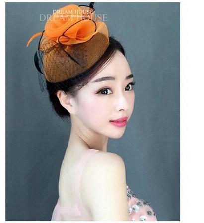 Classic European style stage performance orange flower shape black feathers decoration veil hat headdress D457(China (Mainland))