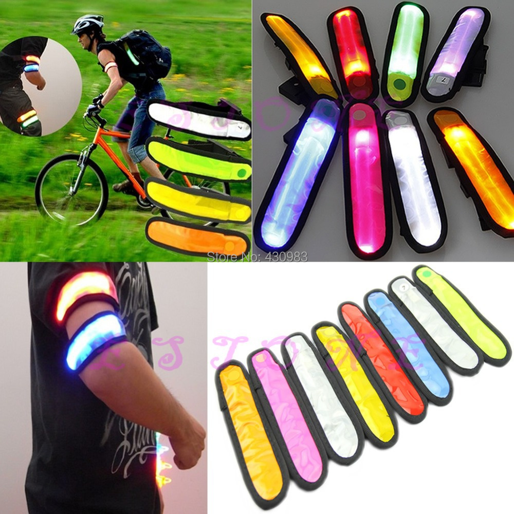 Free Shipping 1pc Reflective Flashing LED Glow Armband Ankle Visible Arm Belt Strap Sports Biking(China (Mainland))