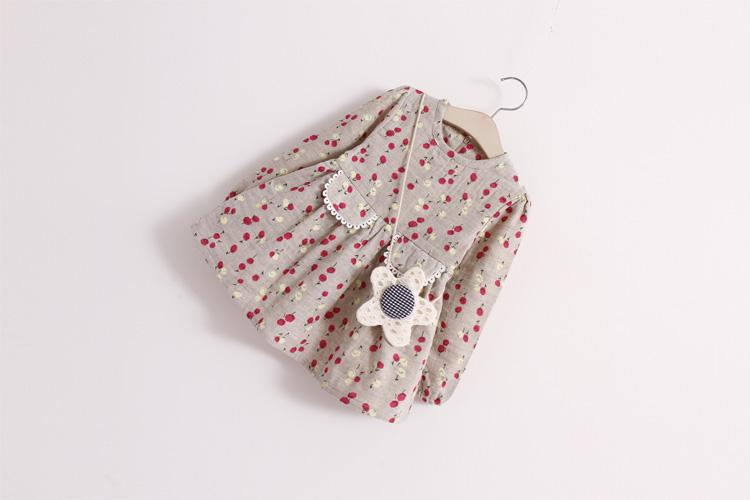 2PCS/2-7T/Spring Infant Costume For Baby Girls Clothes Kids Clothing Set Cute Princess Toddler Dress+Bag Children Dresses