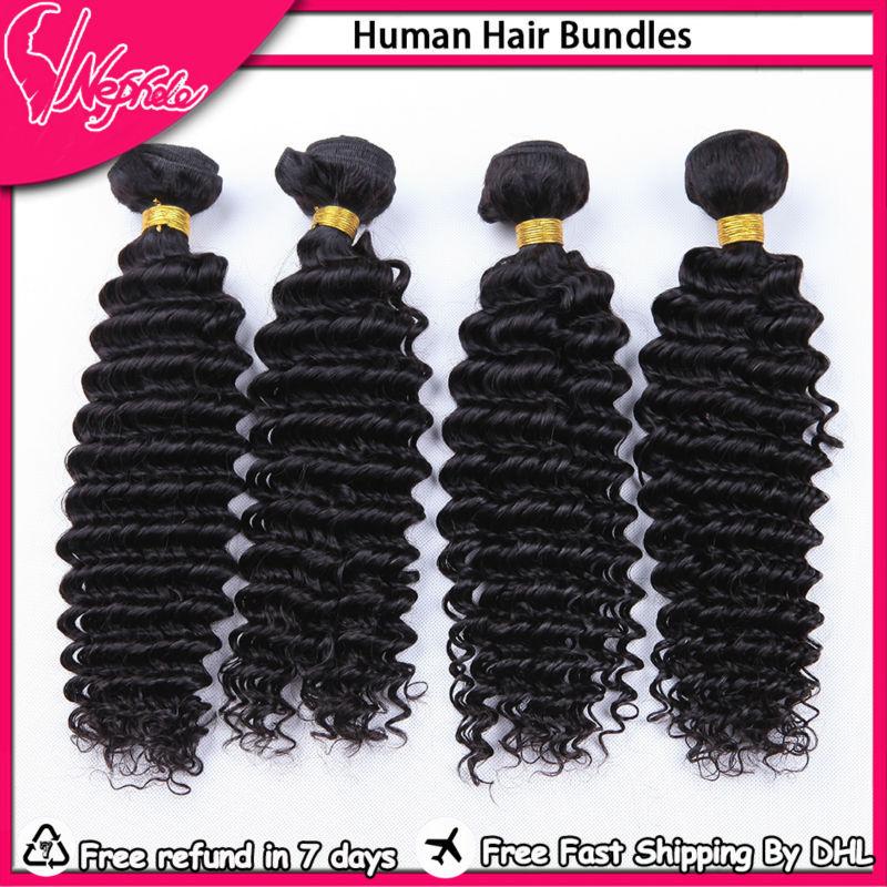 Brazilian 7A Deep Wave Virgin Human Hair Unprocessed Brazilian Virgin Human Hair Bundle Coupon,4Pcs LOT Free Shiping Deep Wave(China (Mainland))
