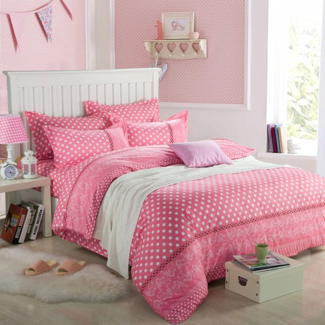 ttmall twin full queen size cotton 4 pieces white polka dot for girls comforter sets pink and. Black Bedroom Furniture Sets. Home Design Ideas