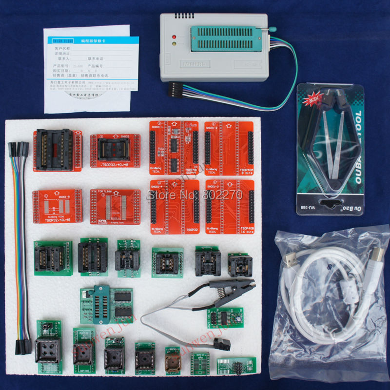 TL866A Programmer EPROM SPI FLASH AVR PIC ICSP in-circuit programming+24 components include 25 flash adapter &1.8V flash adapter(China (Mainland))