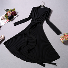 2017 fashion evening dresses party casual knitted lady retro dress(China)