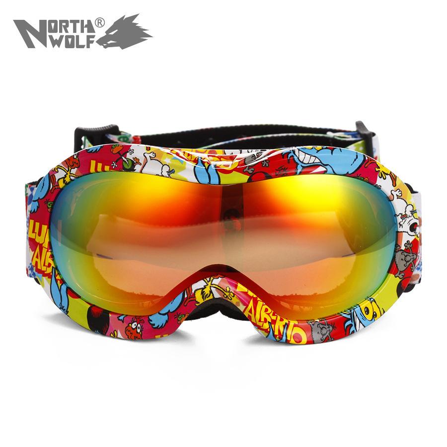 Brand New North Wolf Ski Goggles Tablas De Snowboard 2015 New Arrivel Goggles Ski Kids Hot Sale Children Goggles(China (Mainland))