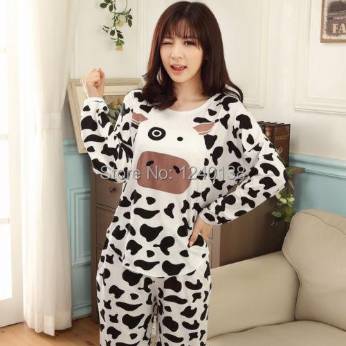 hot sale 2014 new arrival Women Pajamas Pyjama PJs Animal Print Sleepwear Set M L XL Nightwear 2pcs free shipping(China (Mainland))