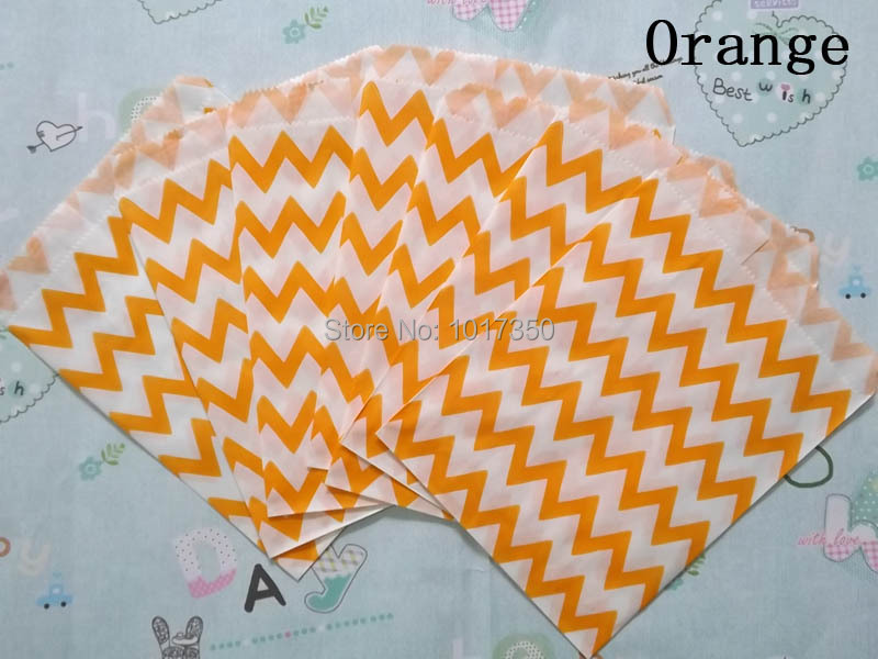 Promotion orange Chevron Treat Craft Paper Popcorn Bags Food Safe Party Favor Paper bags Halloween decoration Gift Bag 50pcs(China (Mainland))