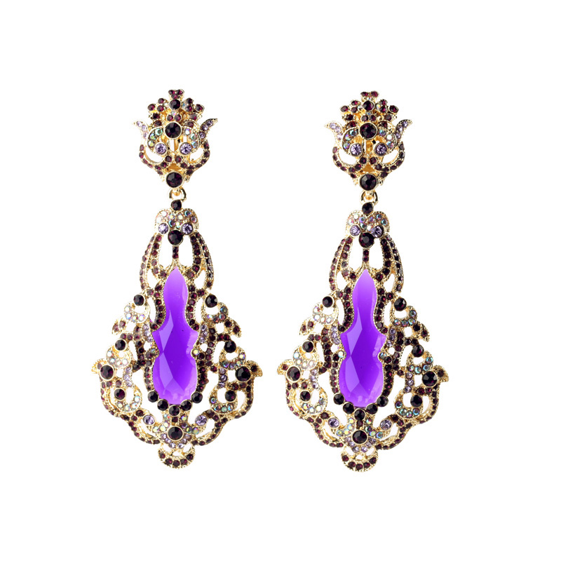 No Pierced Amethyst Clip Earrings Sparkling Party Banquet Hollow Out Female Ear Cuff(China (Mainland))