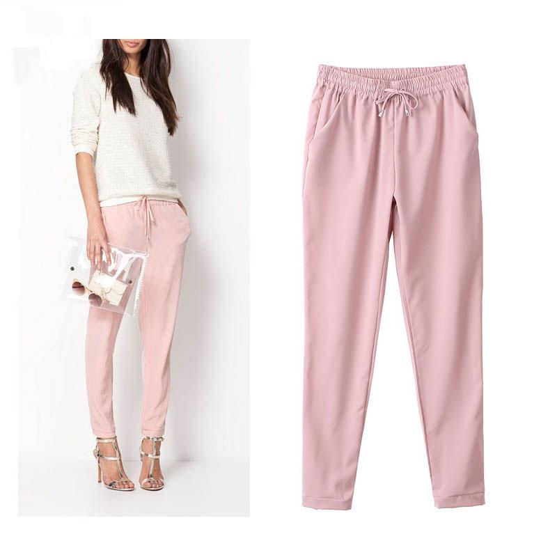 2016 Hot Sale Chiffon Pants Summer Women Pants Casual Harem Pants Drawstring Elastic Waist Pants Plus Size Women Trousers(China (Mainland))