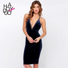 The new women sexy dresses back lace cross belt dress Dresses deep V velvet zipper dress(China (Mainland))