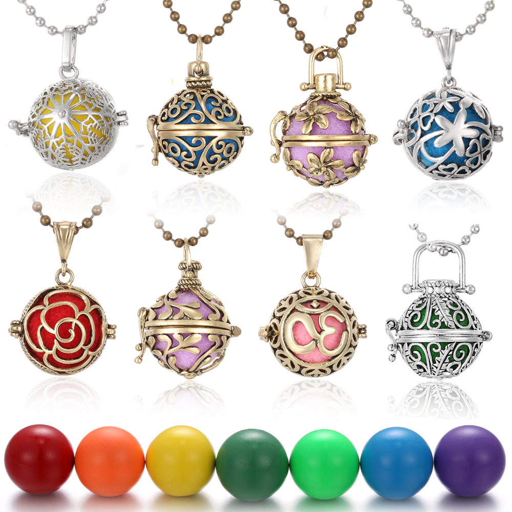 Harmony balle Pendentif médaillons Huile Essentielle Parfum Diffuseur collier or rose