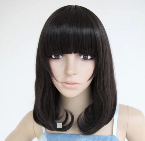 com : Buy black medium length wigs bangs cute girl Rinka Haircut black ...