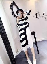 Irregular Black And White Striped Sweater Stitching Chiffon Pleated Dress(China (Mainland))