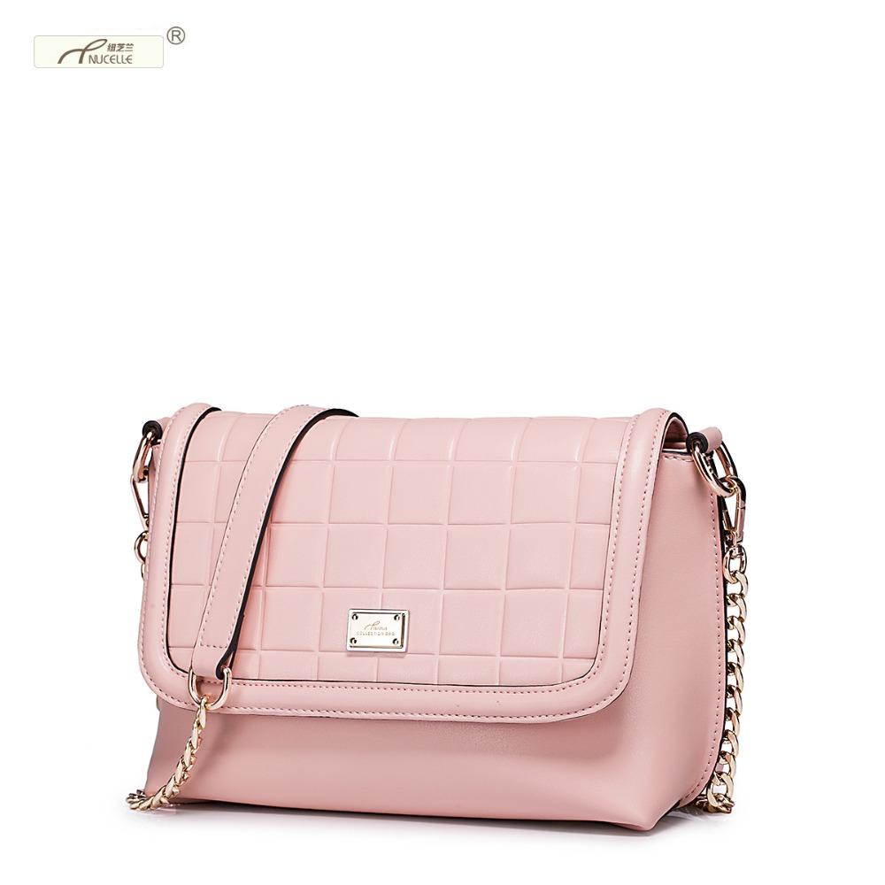 New NUCELLE Brand Design Grid Geometry Pattern Genuine Leather Women  Messenger Bags Chains Shoulder Bag Gift For Girl<br>