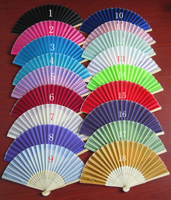 2015 Brand New 300Piece/Lot Folding Wedding Silk Fan Personalized Wedding Favors For Guests 18 color fedex or DHL free shiping(China (Mainland))
