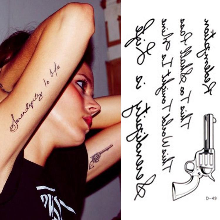 Vente chaude tatouage temporaire autocollants temporaire Body Art Supermodel Stencil Designs étanche lettres Gun Tattoo motif HG-061522(China (Mainland))