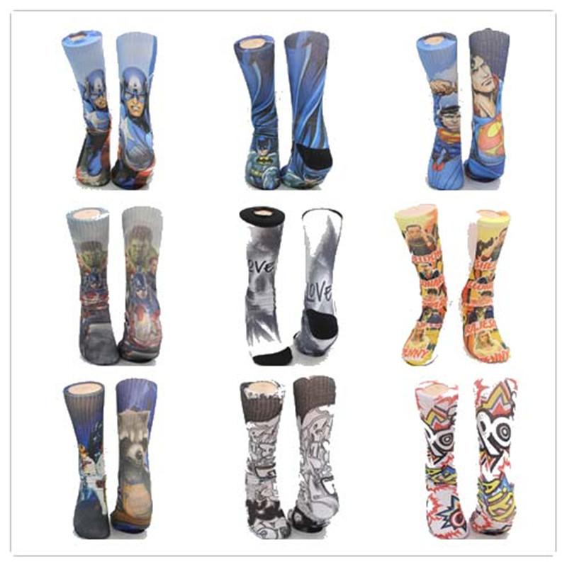 superman batman america captain hulk Street Rock 3D Printing Socks Tie-dye calcetin Skateboard knee high odd future long socks - MYORED Store store