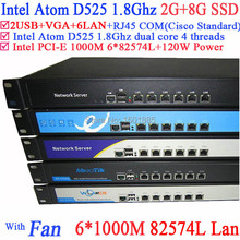 1U linux router server network PC with1000m Gigabyte LAN Intel D525 support ROS Mikrotik PFSense Panabit Wayos 2G RAM 8G SSD(China (Mainland))