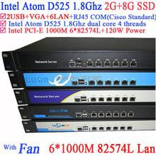 Intel D525 1U Rack Ears Network Server with 1000m Gigabyte LAN support ROS PFSense Panabit Wayos 2G RAM 8G SSD(China (Mainland))