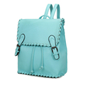 Candy Color Fashion PU Backpack Korean Trend Casual Preppy Style Knitting Edge Belt Buckle Ornament Desigenr
