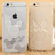 For iPhone 5/5s/SE/6 6s/6Plus/6sPlus Minnie mickey Transparent Soft TPU Cover Cases Phone Cases(China (Mainland))