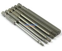 """1 Set 6 Pieces Magnetic Hexagon Screwdriver Bit S2 Steel 1/4"""" Hex Shank 100mm Long"""