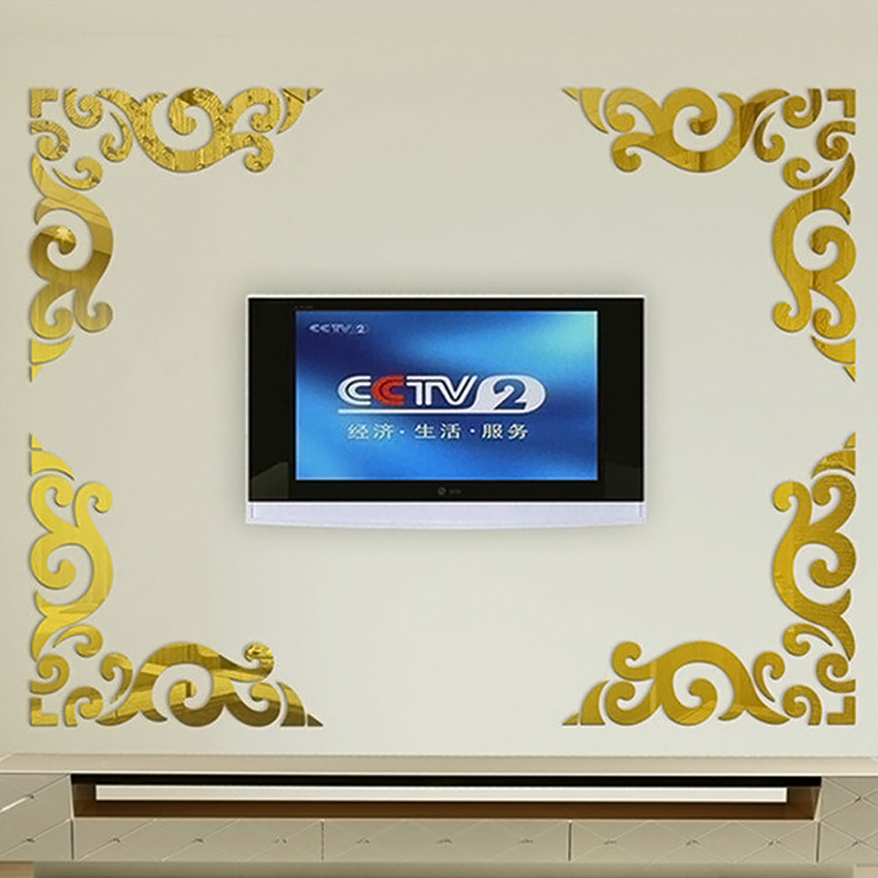 Mirror acrylic three-dimensional wall stickers fashion ceiling tv background wall tijuexian(China (Mainland))