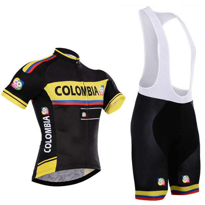 2015 colombia bike wear pro cycling jersey with 100% polyester and bike shorts gel pads(China (Mainland))