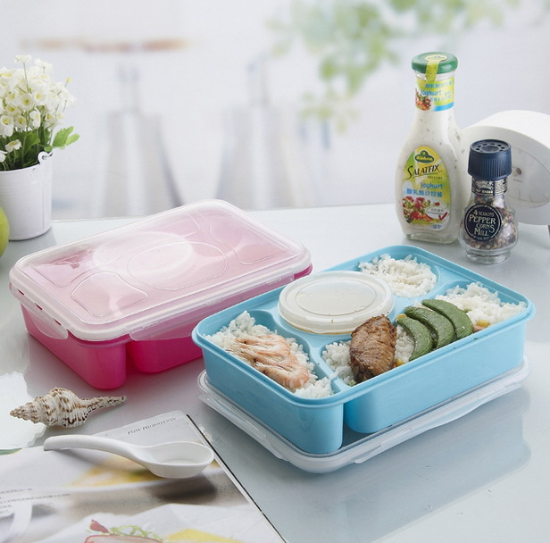 Hot 4+1 Lunch Box Fully Sealed Food Container 4-Compartments Bento Box Soup Bowl With Plastic Scoop Pratos Microwave Meal tools(China (Mainland))