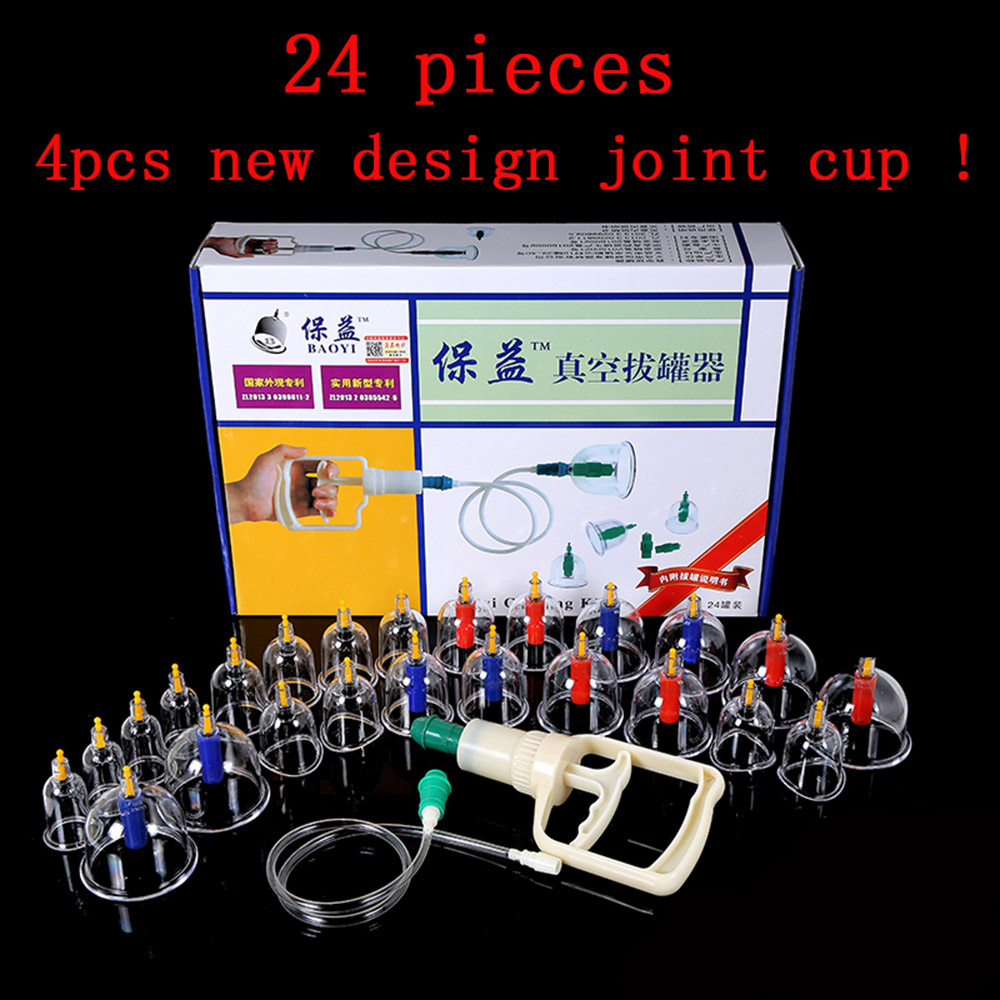 24 Pcs Massage Cans Massager Health Monitors Products Cans Opener Pull Vacuum Cupping Massage Cupping Massage Banks Tank Set(China (Mainland))