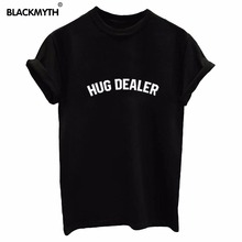 Buy Fashion HUG DEALER Letters Print Top Tee Women Short Sleeve T shirt Black White Plus Size for $3.99 in AliExpress store
