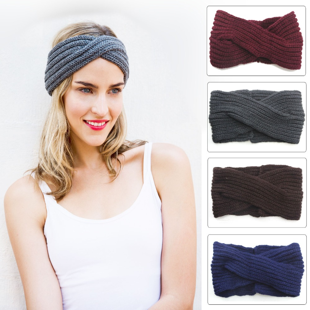 2017 Hot Sale Bohemia cross Twist Women Lady Crochet Cross Turban Knitted Head Wrap Braiders Ear Warmer Braider Hair Styling(China (Mainland))
