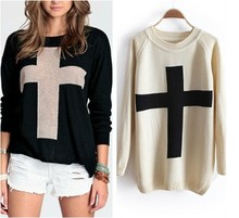 1pcs Fashion Womens Cross Pattern Knit Sweater Outerwear Crew Pullover Tops lady winter thick long sleeve sweater(China (Mainland))