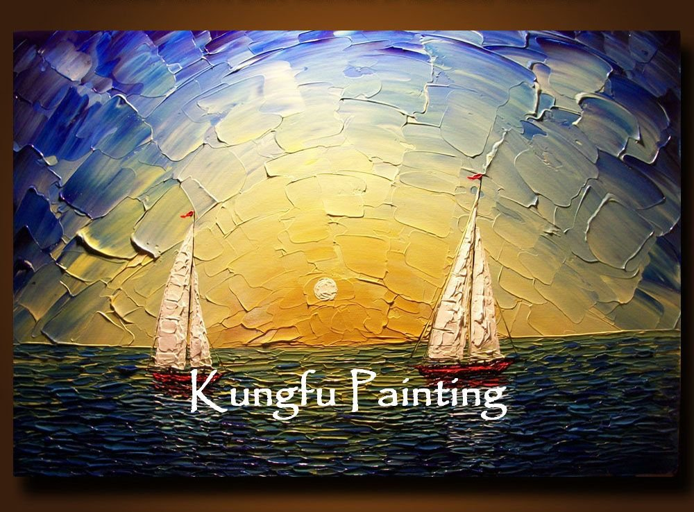 100% hand paint modern palette knife textured sea oil painting on canvas art TXT074(China (Mainland))