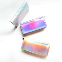 2016 New Women's PU Hologram Laser Wallet Clutch Mini Make-up Purse Handbag Small Laser Silver Wallet Silver/Gold/ Purple Color